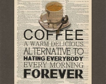 Coffee Quote, Dictionary Art Print, Upcycled Dictionary Page, Old Book Art, Decorative Wall Art, 012