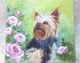 Yorkshire Terrier Print on Canvas ~ 8x8 Inches ~ April Birthday ~ Yorkie Owner Print ~ Pet Keepsake