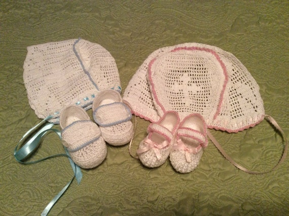 Baby Boy Or Girl Crochet Christening Bonnet And Booties In 2 Sizes