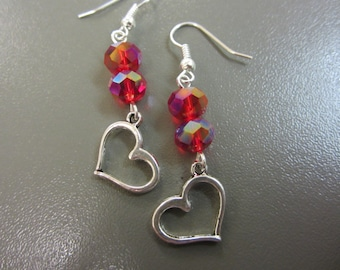 Silver Heart and Crystal Earrings