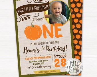 Our Little Pumpkin is One Birthday Party Invitation, Fall, Autumn, Pumpkin Patch, One, First Birthday // DIGITAL, PRINTABLE FILE