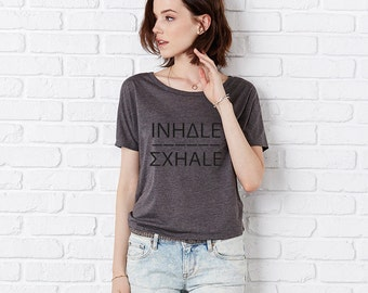 Inhale Exhale Flowy Open Back T Shirt, Slouchy, Fitness Top, Yoga Top, Dance T Dark Grey Heather/Black by Sloganfit