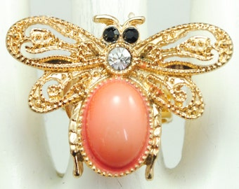 Gold Filigree Bumblebee Ring/Statement Ring/Gift For Her/Peach/Spring/Summer Jewelry/Rhinestone/Adjustable/Under 15 USD