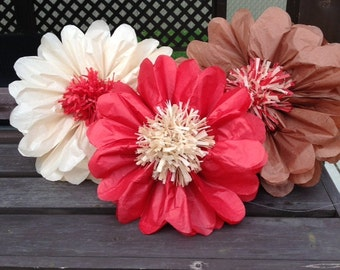 Set of 7 giants tissue paper flowers pom poms 2 in 1 birthday