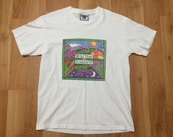 Medium 1997 Wolftrap Summer 97 men's T shirt vintage Lee white green purple Where The Arts Come Out and Play 90's 1990's Virginia