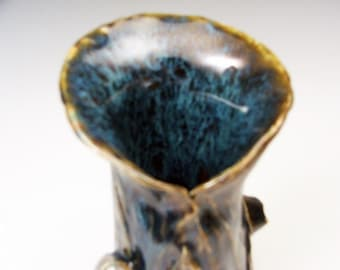 Fabulous Blue and Brown Drop Glaze Vase with Natural Textures
