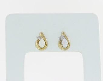 10k Yellow Gold Opal with Diamond Stud Post Earrings