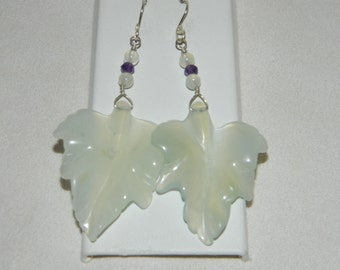 Serpentine Leaf Amethyst and Sterling Silver Dangle Earrings Gemstone Earrings Carved Serpentine Leaf Earrings