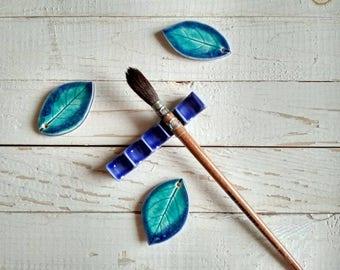 Blue Ceramic Brush Rest - Calligraphy Material