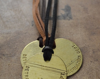 Vintage Brass Detroit Recreation Department Tag On Deerskin Lace Cord - Mens Necklace - 20% Of Sales Donated to Animal Rescue Groups