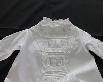 Victorian Antique C.1800's White Work Embroidery Baby Christening Baptismal Gown Pintucks 541884306