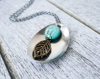 Handmade table spoon with turquoise bead long necklace