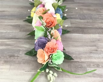 Table Runner in Colorful Paper Flowers