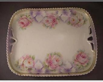 Porcelain Dresser Tray - Rose Transfer - PK Silesia - Germany