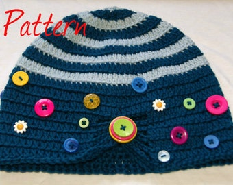 Button Box Beanie PDF crochet pattern UK notation