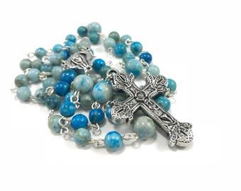 Turquoise Rosary; Blue Catholic Rosary; Blue Gray Rosary; Gemstone Rosary Turquoise Rosary Prayer Beads Traditional Catholic, 5 Decade