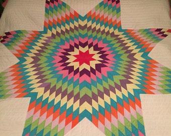 Quilt - Vintage Star Burst  Very colorful