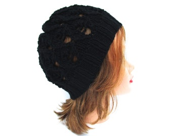 Black Beanie Hat, Lace Knit Hat Women, Women's Knit Hat, Winter Hats For Women, Knit Beanie, Black Hat, Women's Beanie Hat, Knit Skullcap