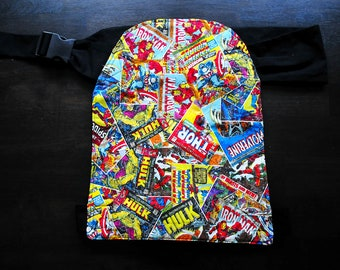 Baby carrier, hip carrier babysling, superheroes, 100% cotton, buckle clasp, easy on/easy off