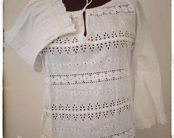 Vintage shirt, white shirt, blouse, shirt, blouse women's vintage Bell sleeves