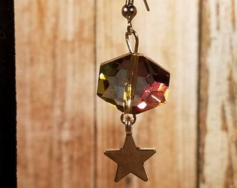 Color Shifting Glass Earrings with Star