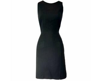 Vintage 90s Dress LBD Oleg Cassini Silk Little Black Sleeveless Designer Size Small