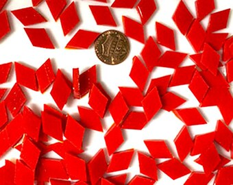 Flame Red Mosaic Tiles Diamonds