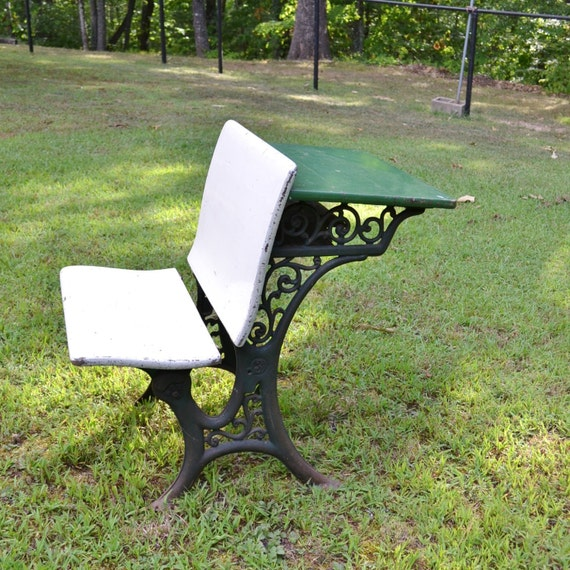 - Antique Childrens School Desk Cast Iron And Wood Green White