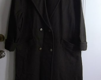 Dark Brown Long Winter Coat by Forstmann for Jofeld, Size 11/12, Wool Blend