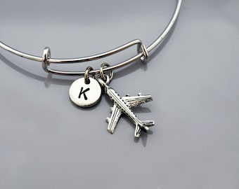 Airplane bangle, Airplane bracelet, Jet bracelet, plane charm, pilot charm, Air plane, Expandable bangle, Monogram, Initial bracelet