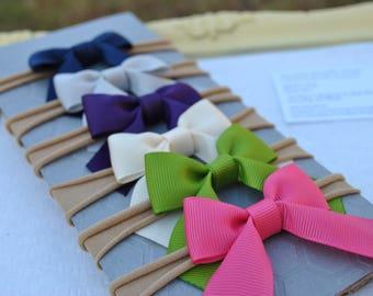 Fall Baby Bow Headband Gift Set- Simple Girls Bow Headband - Plum Baby Hair Bow - Newborn Small Nylon Headband - Navy Head Band - Ivory Bow