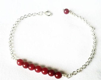 Silver bracelet 925 Natural stones ruby red