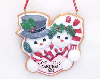 Personalized Christmas Ornament Snowmen Couple / Our First Christmas / Cookie Ornament / Hand Personalized