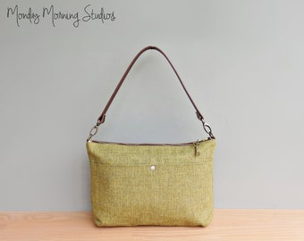 Handcrafted Tweed Fabric Shoulder Purse in Green Apple with Leather Strap, Spring and Summer Classic Business Handbag, Everyday Commuter Bag