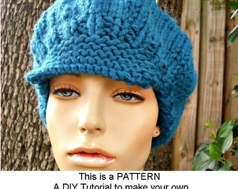 Instant Download Knitting Pattern - Knit Hat Pattern Chunky Newsboy Cap Pattern Chunky Beret Pattern - Womens Accessories