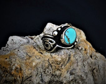 Rockin Out Jewelry - Dixie - Turquoise - Ring - Sterling Silver - Western Style - Women's - Engraved - Hand Made - Antiqued - Scrolls - Hers