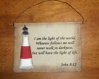 "7"" X 6"" Painted Lighthouse on canvas wall hanger Light of Life"