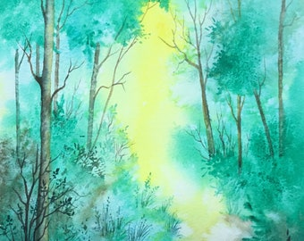 """Woodland Glade  Large original watercolour painting 14""""x10"""" by Pamela West"""