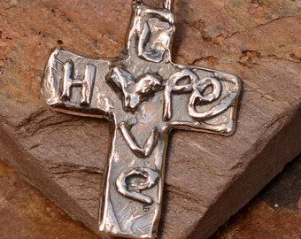 Artisan Cross in Sterling Silver, Hope and Love Cross, R-438