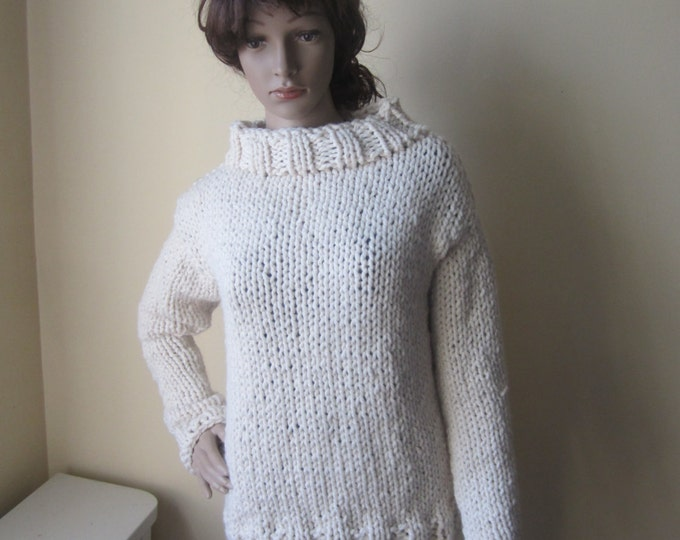 CHUNKY KNIT SWEATER/ ivory knit sweater/offwhite sweater/fisherman womens sweater/knit sweater/ Winter fashion/bohemian sweater/