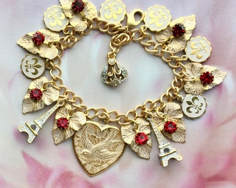 Paris Charm Bracelet - French Jewelry - Paris Jewelry - Victorian Jewelry - French Bracelet - Gifts for Her - Romantic Jewelry - France