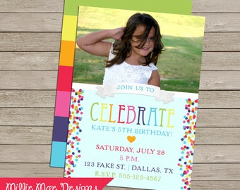 Rainbow Confetti Photo Invitation - Front and Back