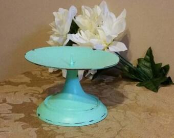 Mint Green Candleholder;  Shabby Chic Candleholder; Mint Green Metal Candleholder