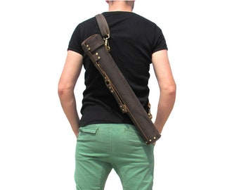 Leather art case carrying tube architects bag blueprint roll leather document tube architect archaeologist artist bag brass hardware dt4a malvernweather Image collections
