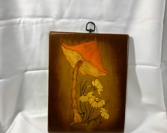 Retro Tole Painting on Wood Mushroom Daisies Flowers 1970's  Wall Decor Signed