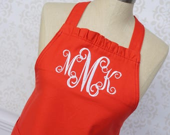 Red Personalized Apron, Hostess Gift, Apron for Women, Monogram Apron