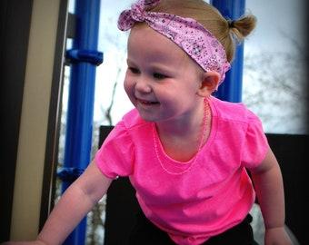 Cotton Knotted Headband, pink baby headband, mommy and me headband, knot baby headband, top knot headband, adjustable baby headband