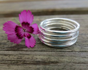 Smooth Stacking Rings, Set of Five, Sterling Silver, Modern, Handmade, Unique Jewelry, Designer Jewellery, delicate, minimalist, natural