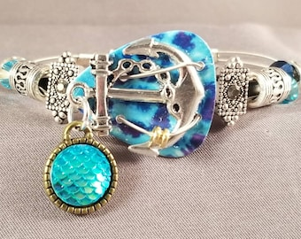 "Guitar pick and guitar string bracelet ""Mermaid by the Sea"""
