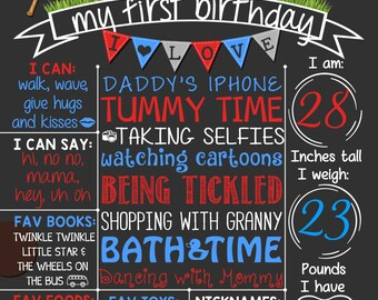 Baseball First Birthday Chalkboard Poster  | Boy 1st Birthday Chalk Board | Baseball Theme  | DIGITAL FILE - PRINTABLE